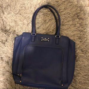Kate Spade Blue Tote Bag Gold Hardware Zip Pocket